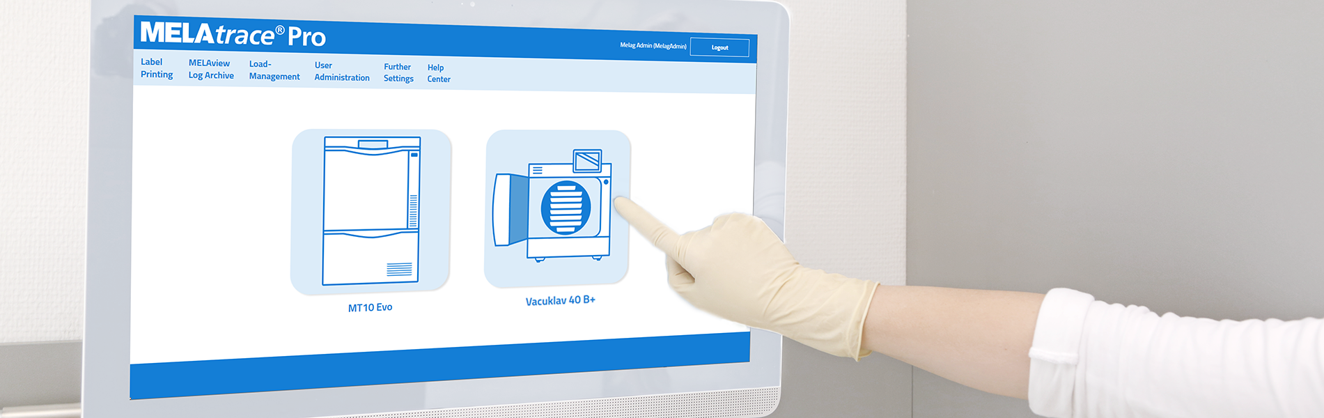 MELAtrace documentation software on touch screen
