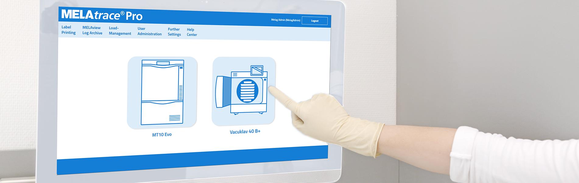 На сенсорном экране отображается программа MELAtrace для документирования процессов стерилизации