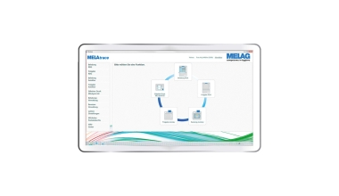 Frontansicht Tablet Display mit Interface von MELAtrace Dokumentations-Software