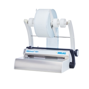 Schrägansicht Siegelgerät MELAseal 100+ mit Rollenhalter und 1 Folienrolle