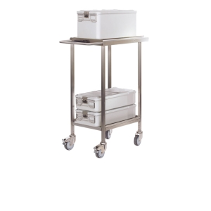 Diagonal view Cliniclave 45 trolley with sterilization load