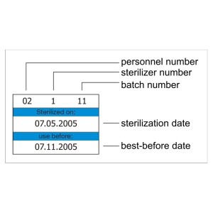Sample batch label with sterilization dates