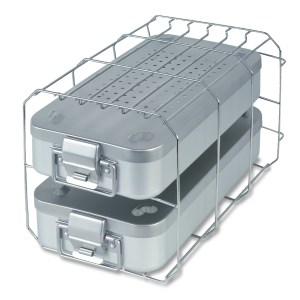 Sterilization container with holder
