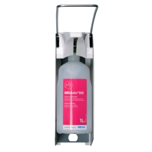 Front view wall dispenser for MELAdes 600 hand disinfectant