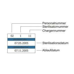 Beispielt Etikett für Sterilgutverpackungen