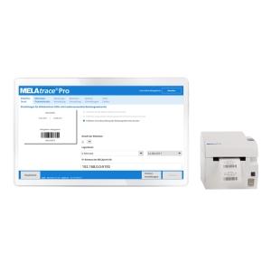 MELAtrace mit MELAprint 60 zum Etikettendruck der verpackten Instrumente