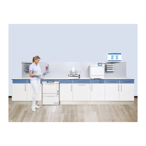 Dental assistant in sterilization room with MELAG system solution for instrument reprocessing