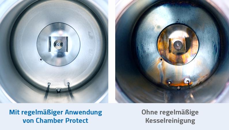 Gegenüberstellung eines Kessels mit regelmäßiger Nutzung von Chamber Protect vs. keiner Kesselreinigung